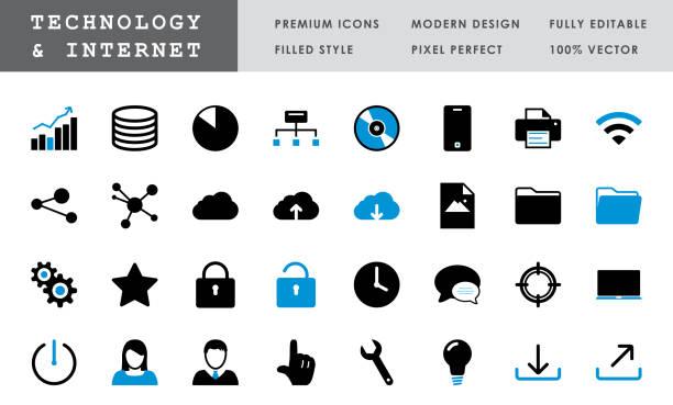 Technology & Internet - Bold Pixel Perfect Vector Icons vector art illustration