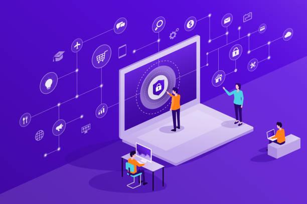 Technologie Internet-Cyber-Sicherheit und Datensicherheit Online-Netzwerk-Verbindung Konzept – Vektorgrafik