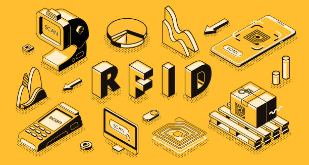 RFID technology isometric vector business concept Radio frequency identification technology isometric vector concept with RFID reader or scanner, electromagnetic track tag on cardboard box, mobile app for business delivery, goods shipment tracking radio frequency identification stock illustrations