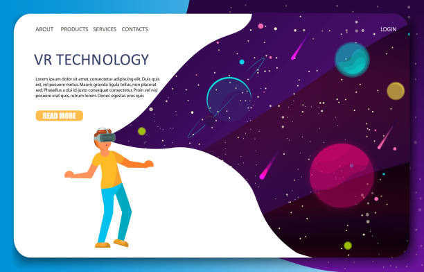 vr technology landing page website vector template - miejsce na tekst stock illustrations