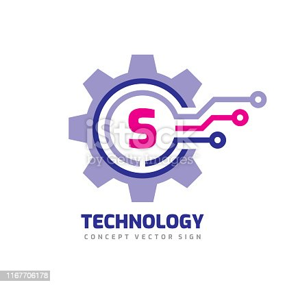 Technology Letter S - vector icon template concept illustration. Cogwheel gear abstract sign. Mechanic industrial icon. SEO. Search engine optimization.