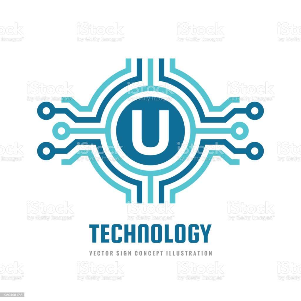 Technology Letter U Vector Sign Template Concept Illustration
