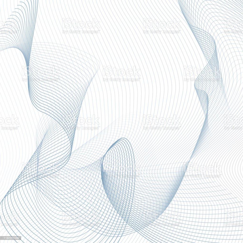 Technology line art ornament. Light blue, gray thin curves....