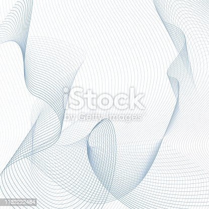 Technology line art ornament. Light blue, gray thin curves. Contemporary abstract background. Twisted, ripple, squiggle subtle lines. Vector sci-tech design. Creative wave pattern. EPS10 illustration