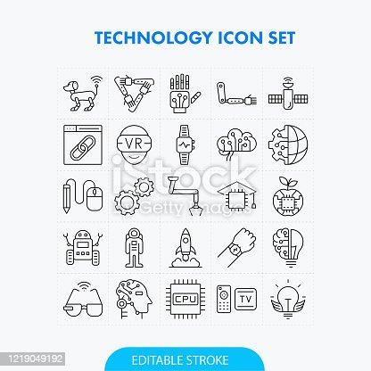 Technology Line Icon Set. Editable Stroke