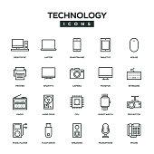 Technology Line Icon Set