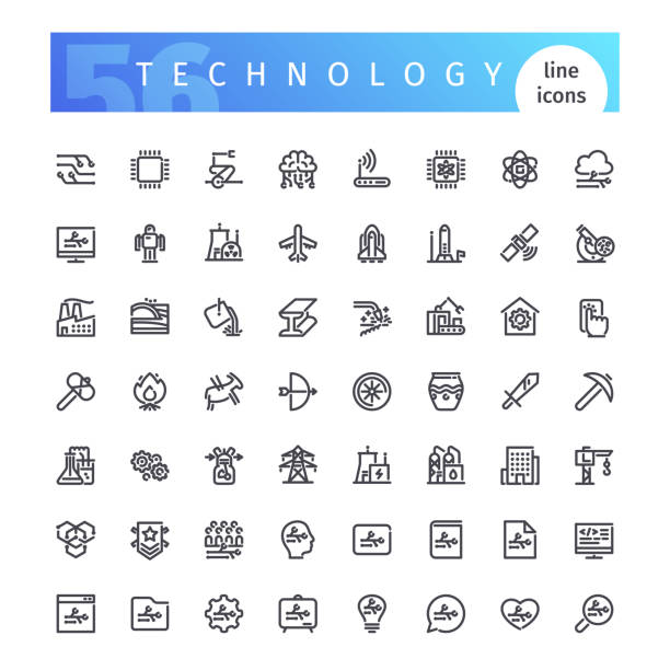 illustrazioni stock, clip art, cartoni animati e icone di tendenza di technology line icons set - reattore nucleare