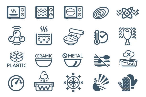 ilustraciones, imágenes clip art, dibujos animados e iconos de stock de tecnología icono del horno microondas. - comida casera