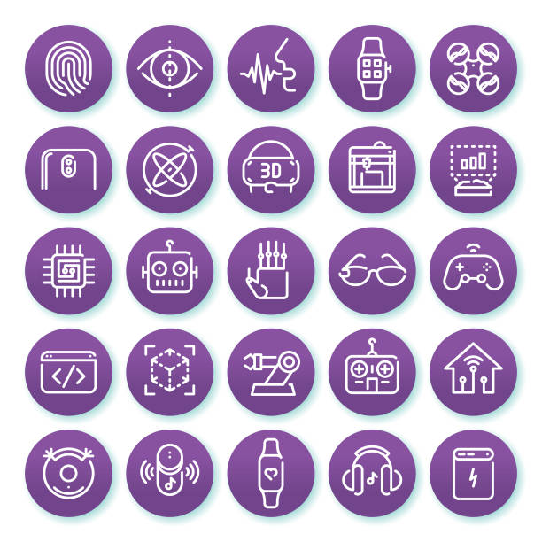 illustrations, cliparts, dessins animés et icônes de jeu d'icônes de ligne minimaliste de technologie sur un fond violet rond 1 - infographie industrie manufacture production