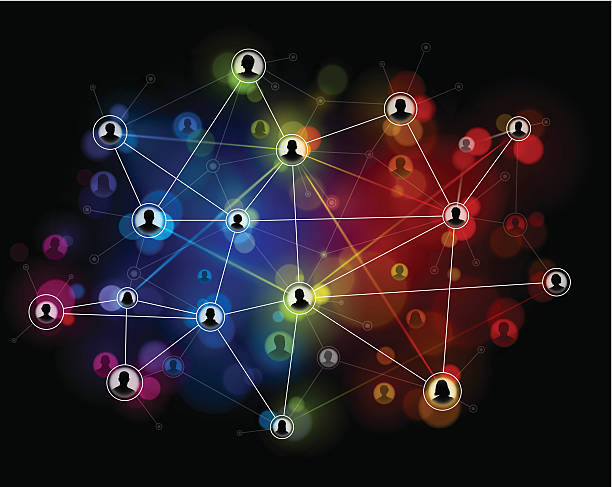 Technology network background Interconnecting internet users on a vibrant coloured network system. EPS 10 file using transparencies. online dating stock illustrations