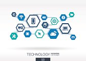 Technology network. Hexagon abstract background with lines, polygons, integrate icons.