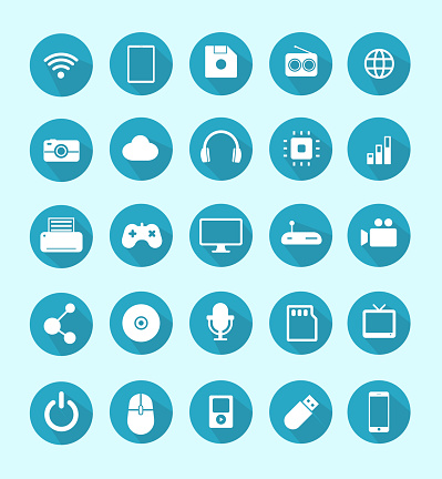 Technology, old and modern communication devices and accessories and audio and video items and objects vector icon graphic design set.
