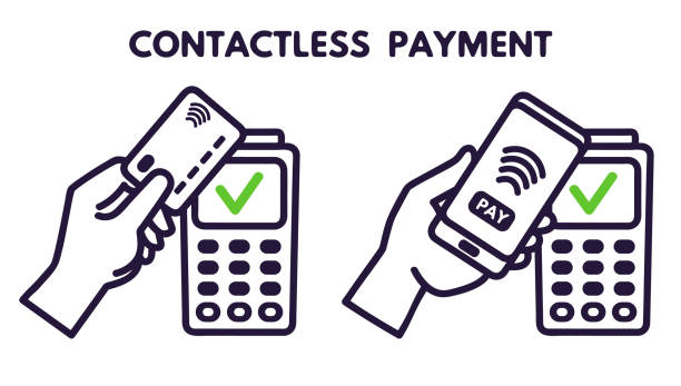 nfc technology payment vector ounline icon. contacless, wireless payment with credit plastic card, smartphone, pos terminal - płacić stock illustrations