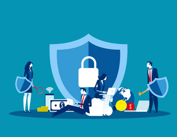 Technology security. Concept business vector, Data security, Internet, Programming. vector art illustration
