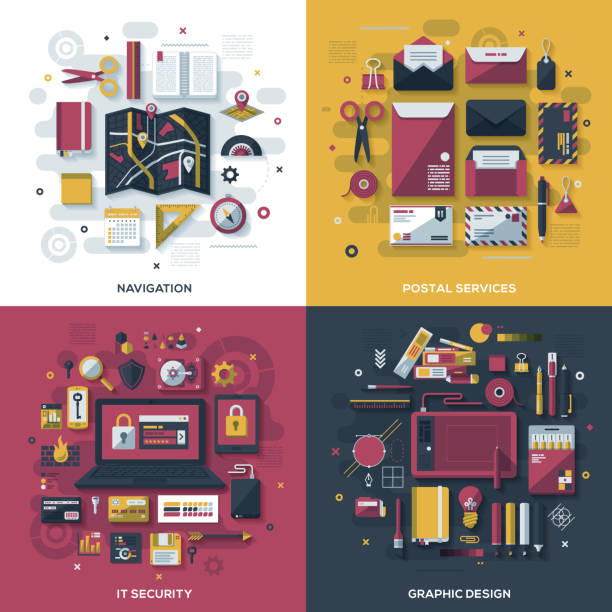 Technology Services Flat Design Concepts vector art illustration
