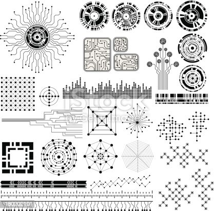 collection of abstract design modern technology theme shapes. eps10 vector format
