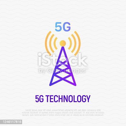 istock 5G technology thin line icon. Mobile tower for high speed internet. Vector illustration. 1246117815