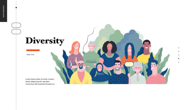 Technology topic illustration Technology 1 - Diversity - modern flat vector concept digital illustration of various people presenting person team diversity in the company. Creative landing web page design template happy family stock illustrations