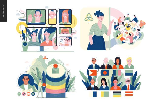 bildbanksillustrationer, clip art samt tecknat material och ikoner med teknik ämne illustration - client meeting
