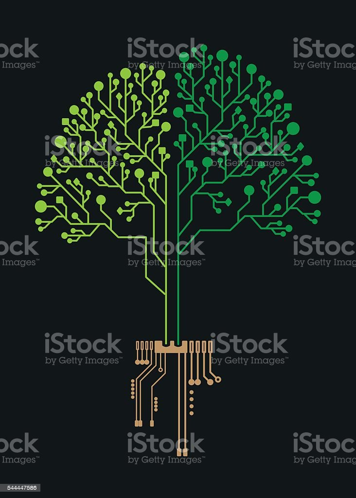 Technology tree circuit for business vector art illustration