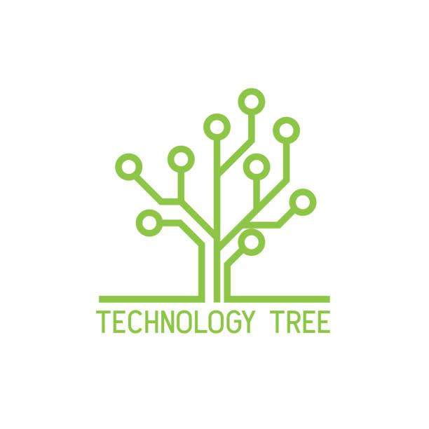 bildbanksillustrationer, clip art samt tecknat material och ikoner med teknik träds ikonen på vit bakgrund. vektor illustration - ekosystem