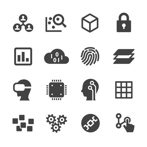 technology trend icons - acme series - sztuczna inteligencja stock illustrations