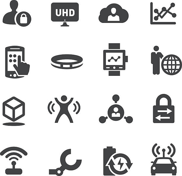 technology trends for business icons - acme series - self driving cars stock illustrations, clip art, cartoons, & icons
