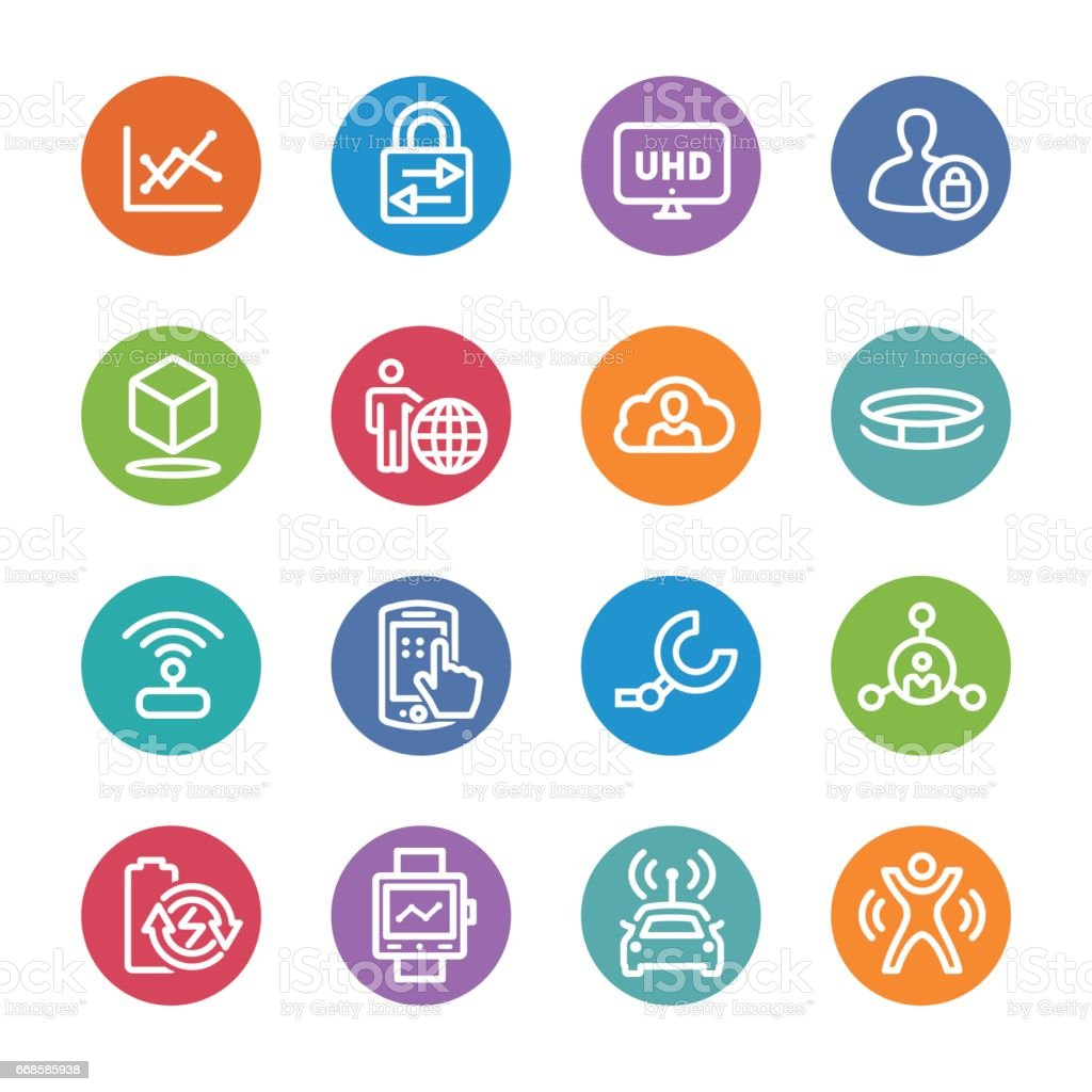 Technology Trends For Business Icons - Circle Line Series vector art illustration