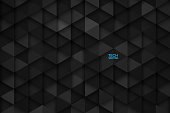 3D Science Technology Triangular Dark Gray Vector Abstract Background. Three Dimensional Tech Triangle Structure Wallpaper