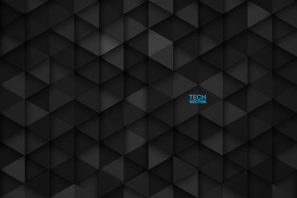 3D Technology Triangular Vector Abstract Background 3D Science Technology Triangular Dark Gray Vector Abstract Background. Three Dimensional Tech Triangle Structure Wallpaper black color stock illustrations