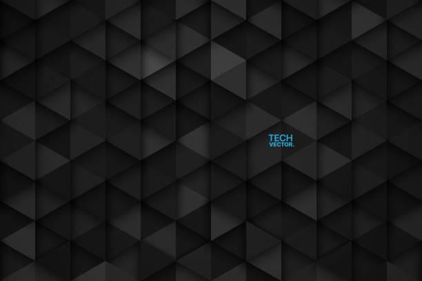 3d 기술 삼각형 벡터 추상적인 배경 - 검은색 stock illustrations