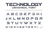 Technology universal font. Geometric, sport, futuristic, future techno alphabet. Letters and numbers for military, industrial, electric car racing symboldesign. Modern minimalistic vector typeface