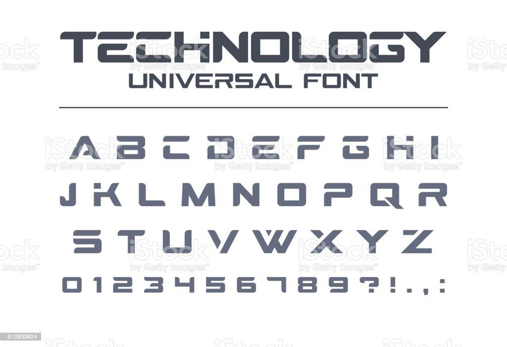 Technology universal vector font. Geometric, sport, futuristic, future techno alphabet. vector art illustration