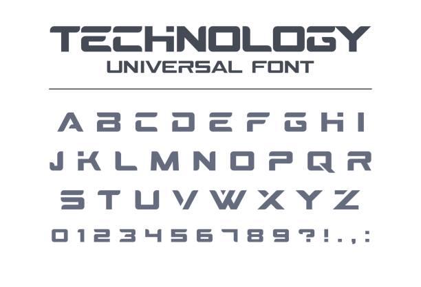 technology universal vector font. geometric, sport, futuristic, future techno alphabet. - alphabet icons stock illustrations
