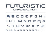 Futuristic universal font. Geometric, future techno alphabet. Letters and numbers for military, industrial, technology, racing sport, electric car logo design. Modern minimalistic vector typeface