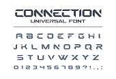 Technology connect universal font. Geometric, aggressive sport, futuristic, future techno alphabet. Letters and numbers for military, electric industry logo design. Modern minimalistic vector typeface