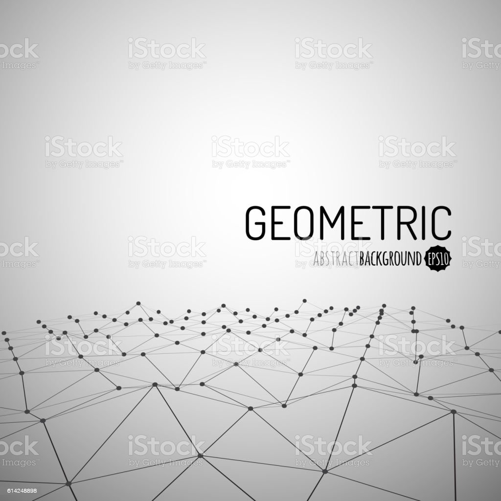 Technology vector background. Wireframe polygonal landscape. Mountains with connected lines vector art illustration