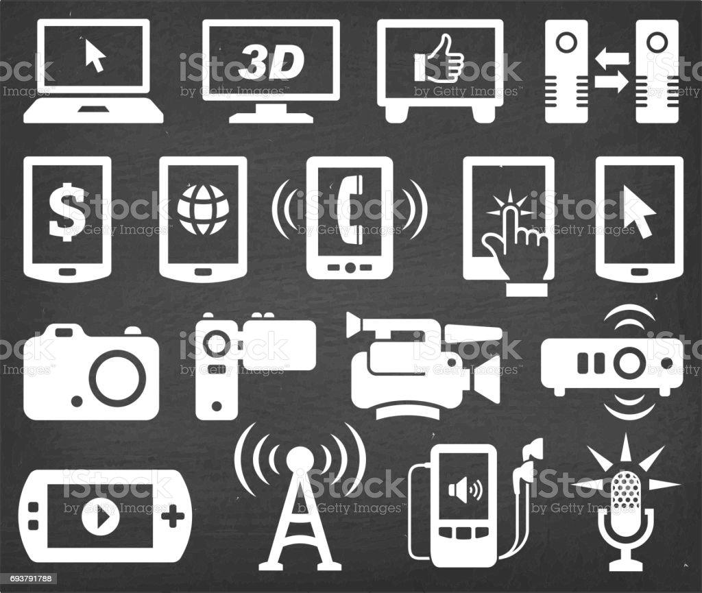 Technology Vector Icons Set on Black Chalkboard vector art illustration