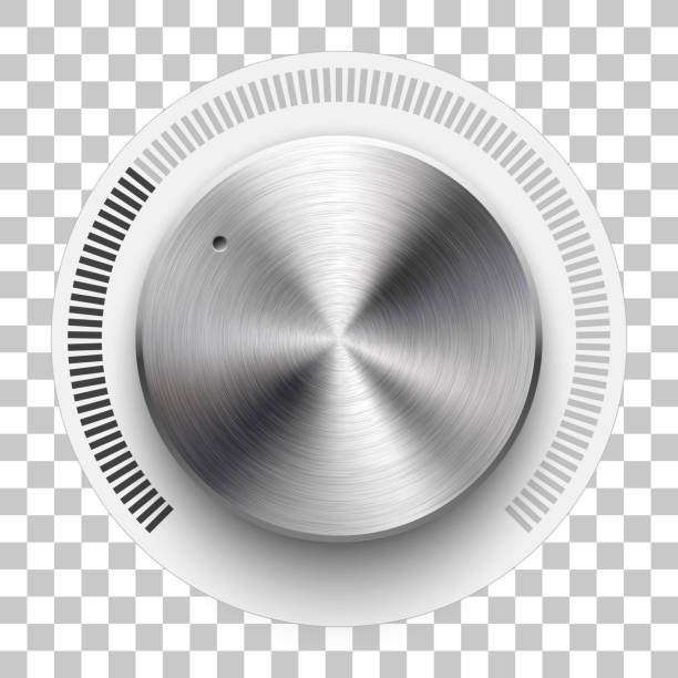 Technology Volume Knob Audio volume knob, technology music button template, with metal circular brushed texture, chrome, silver, steel, range scale and realistic shadow for design concepts, web, interfaces, UI, apps. Vector knob stock illustrations