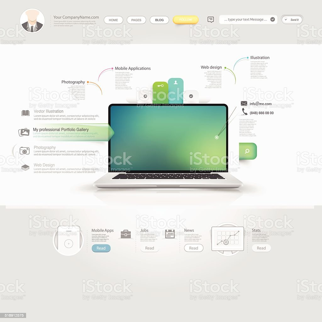 Technology website template with icons vector art illustration