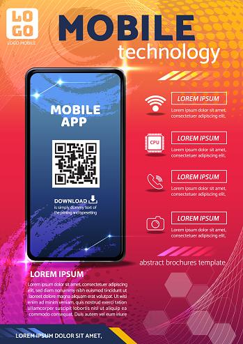 tecno app flyer poster background design illustration vector 01