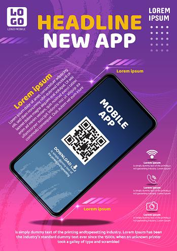 tecno app flyer poster background design illustration vector 02