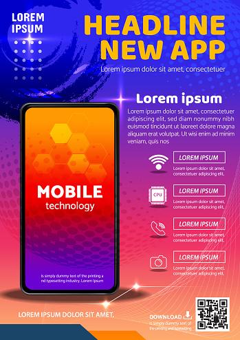 tecno app flyer poster background design illustration vector 03