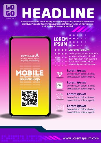tecno app flyer poster background design illustration vector 06