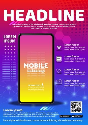 tecno app flyer poster background design illustration vector 07