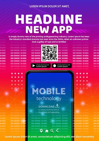 tecno app flyer poster background design illustration vector 10