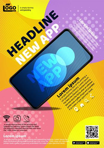 tecno app flyer poster background illustration vector 01