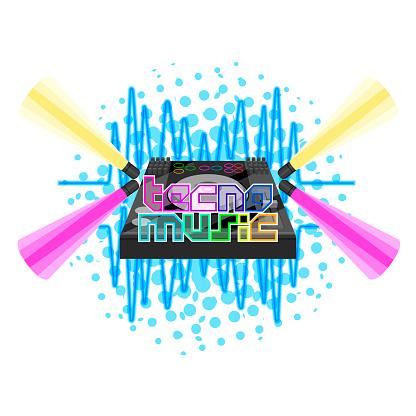 Tecno music label with dj turntable