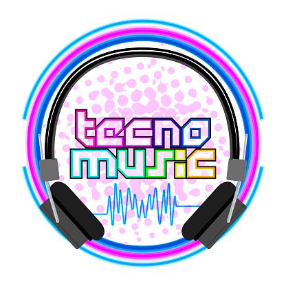 Tecno music label with headphones