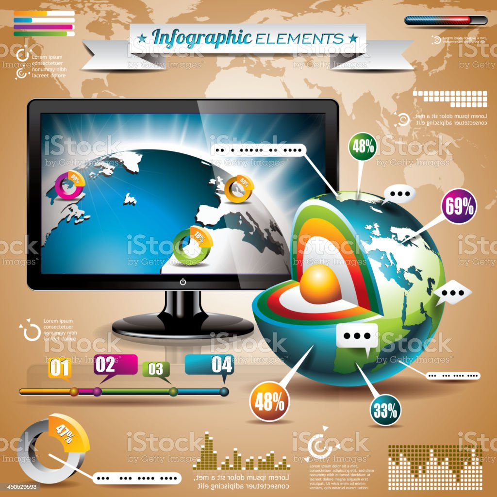 Tecnology world map design set of infographic elements. royalty-free stock vector art